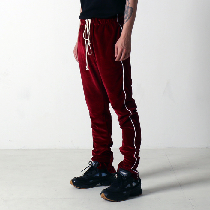 [EPTM] VELOUR TRACK PANTS (BURGUNDY) - 풋셀스토어