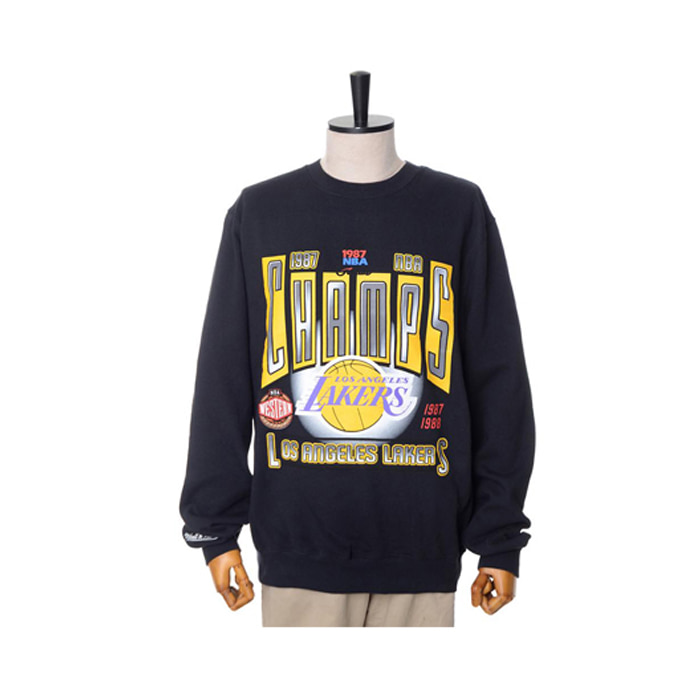 미첼엔네스 NBA LA 레이커스 챔프 맨투맨, MitchellandNess LA LAKERS WINNER TAKES ALL CREW SWEATSHIRTS - BLACK - 풋셀스토어