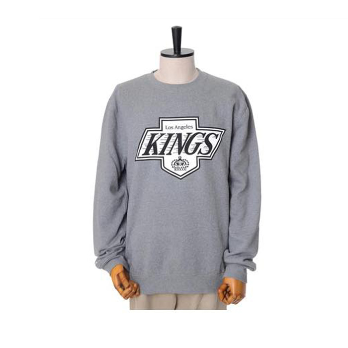 미첼엔네스 NHL LA킹스 맨투맨, MitchellandNess LA KINGS BLACK/WHITE LOGO CREW SWEATSHIRTS - GREY - 풋셀스토어