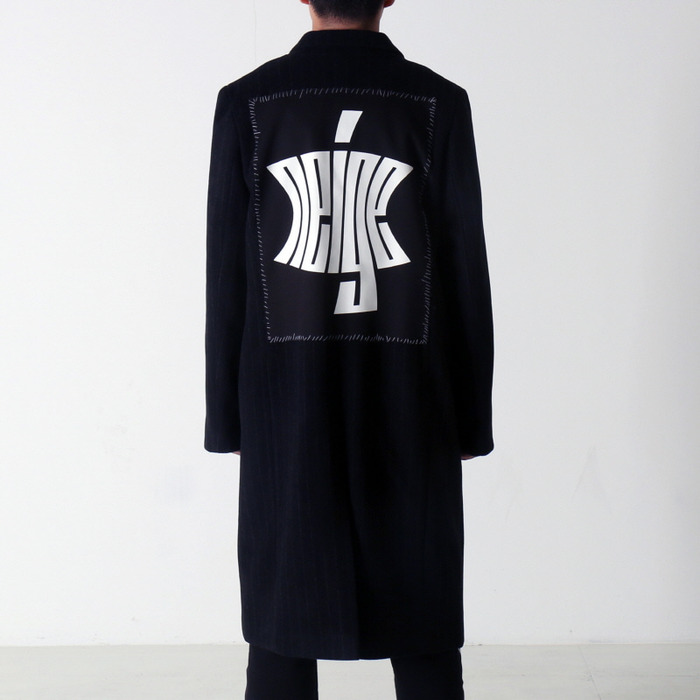 [NEIGE] STRIPED PATCH WOOL COAT (BLACK), 네이지 - 풋셀스토어