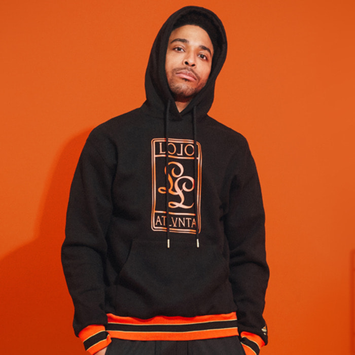 롤로, [LOLO] LIT HOODIE  (Black/Orange) - 풋셀스토어