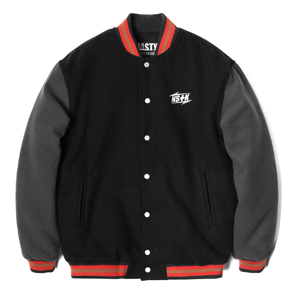 네스티킥, [NK] NSTK NARROW VARSITY JACKET BLACK (NK18A118H) - 풋셀스토어