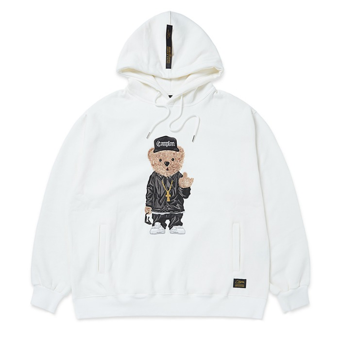 스티그마 STIGMA EMB COMPTON BEAR OVERSIZED HEAVY SWEAT HOODIE WHITE - 풋셀스토어