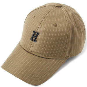 [헤이터] H Leather Patch Stripe Cap- Khaki, 볼캡 - 풋셀스토어