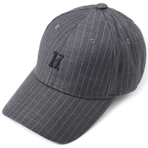 [헤이터] H Leather Patch Stripe Cap- Dark Gray, 볼캡 - 풋셀스토어