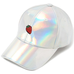 [헤이터] Strawberry Embroidery Cap- Shiny Holographic, 스냅 볼캡 - 풋셀스토어