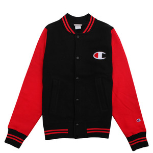 [챔피온 자켓] CHAMPION REVERSE WEAVE COLOR BLOCK JACKET (BLACK/TEAM RED SCARLET) [V0892-0AQ]