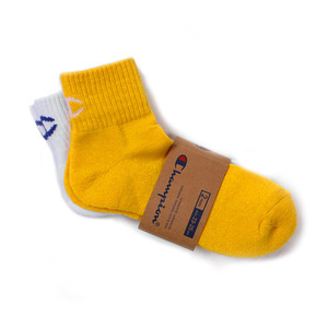 [챔피온] CHAMPION Quarter Socks White/Yellow 2pk,챔피온 양말