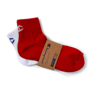[챔피온] CHAMPION Quarter Socks White/Red 2pk,챔피온 양말