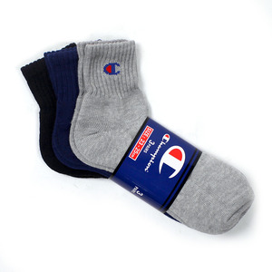 [챔피온] CHAMPION Half Socks Black/Navy/Grey 3pk,챔피온 양말