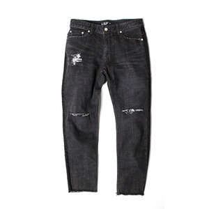 [어반스터프] USF SIDE BAR CUT OFF DENIM PANTS BLACK, 데님팬츠