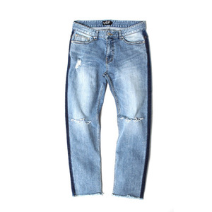 [어반스터프] USF SIDE BAR CUT OFF DENIM PANTS BLUE, 데님팬츠