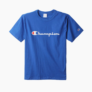 챔피온 로고 반팔티(블루), CHAMPION (JAPAN) Basic T-Shirt (C3-H374) Blue