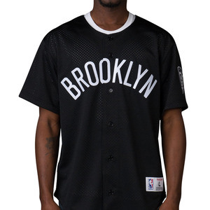 미첼엔네스 브루클린 네츠 메쉬 져지, MitchellandNess BROOKLYN NETS MESH BUTTON JERSEY - BLACK