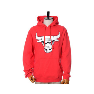 미첼엔네스 NBA 시카고불스 레드 후드, MitchellandNess CHICAGO BULLS BLACK/WHITE LOGO CREW HOODY - RED - 풋셀스토어
