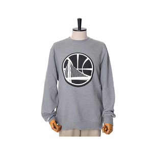 미첼엔네스 NBA 골든스테이트 워리어스 맨투맨, MitchellandNess GOLDEN STATE WARRIORS BLACK/WHITE LOGO CREW SWEATSHIRTS - GREY - 풋셀스토어