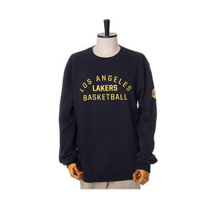 미첼엔네스 NBA LA 레이커스 팀이슈 맨투맨, MitchellandNess LA LAKERS TEAM ISSUED CREW SWEATSHIRTS - BLACK - 풋셀스토어