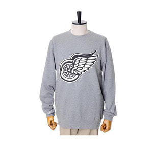 미첼엔네스 NHL 디트로이트 레드윙스 맨투맨, MitchellandNess DETROIT REDWINGS BLACK/WHITE LOGO CREW SWEATSHIRTS - GREY HEATHER - 풋셀스토어
