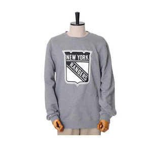미첼엔네스 NHL 뉴욕레인저스 맨투맨, MitchellandNess NEWYORK RANGERS BLACK/WHITE LOGO CREW SWEATSHIRTS - GREY - 풋셀스토어