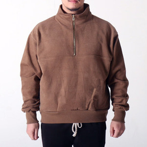 [COUPDEGRACE] WASHED COTTON ZIPPED TURTLENECK (BROWN), 쿠드그라스 긴팔 - 풋셀스토어