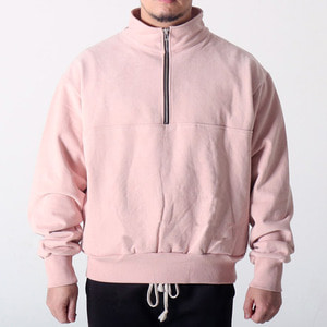 [COUPDEGRACE] WASHED COTTON ZIPPED TURTLENECK (PINK), 쿠드그라스 긴팔 - 풋셀스토어