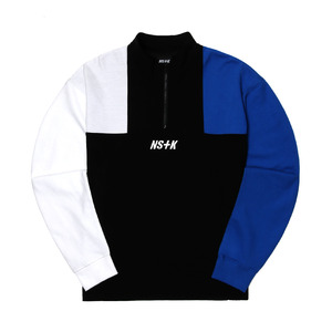 네스티킥, [NSTK] APACHE ZIPUP NECK LONG SLEEVE (BLK-BLUE) - 풋셀스토어