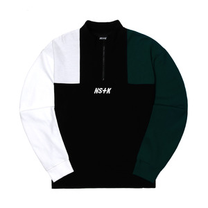 네스티킥, [NSTK] APACHE ZIPUP NECK LONG SLEEVE (BLK-GREEN) - 풋셀스토어