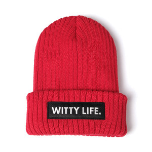 [위티나트] 위티라이프 비니 레드 블랙 / WITTY LIFE BEANIE red black - 풋셀스토어