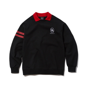 [어반스터프] USF EMBLEM COLLAR SWEAT SHIRTS BLACK - 풋셀스토어