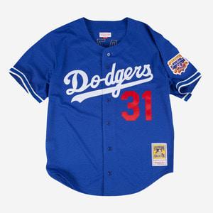 미첼엔네스 MLB LA 다저스 마이크 피아자 쿠퍼스 타운 저지, Mike Piazza 1997 Authentic Mesh BP Jersey Los Angeles Dodgers - 풋셀스토어