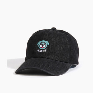 [와프] Warf Big Face Cap Denim Black 모자 - 풋셀스토어
