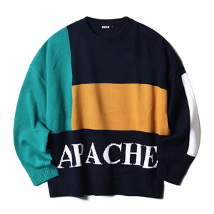네스티킥, BLOCKY APACHE KNIT NAVY (NK18A009H) - 풋셀스토어