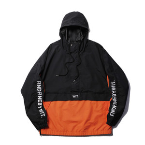 """[위티나트] 풋셀x 위니타트 """"A.K.C"""" 풀오버 자켓, pullover jacket black/orange _아노락 - 풋셀스토어"""