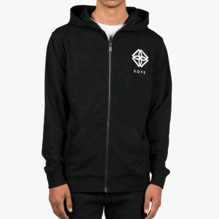 [도프]DOPE Monogram Zip-Up (Black) - 풋셀스토어