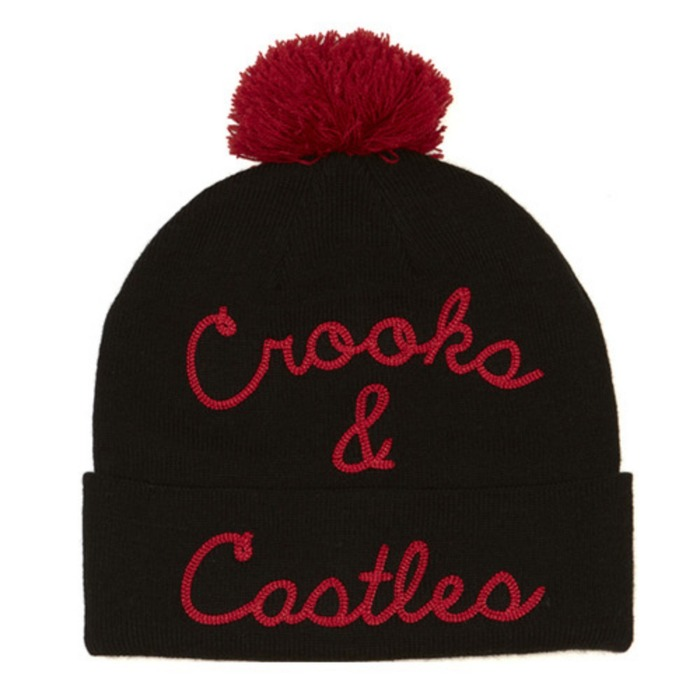 [크룩스앤캐슬]CROOKS & CASTLES Mens Knit Pom Beanie - Scripted Beanie [1] - 풋셀스토어