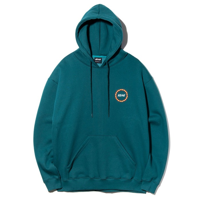 네스티킥, [NK] NSTK FLAME CIRCLE HOODIE BLUE GREEN (NK18A029H) - 풋셀스토어