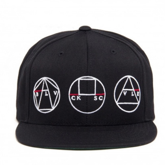 [블랙스케일]BLACK SCALE Golden Shapes Snapback, Black - 풋셀스토어