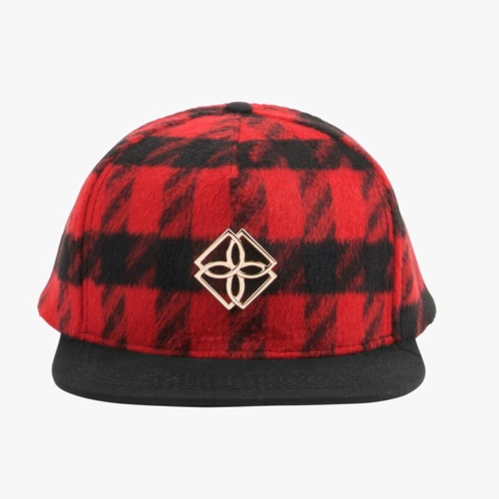 [도프]DOPE Plaid Monogram Snapback (BLACK/RED) - 풋셀스토어