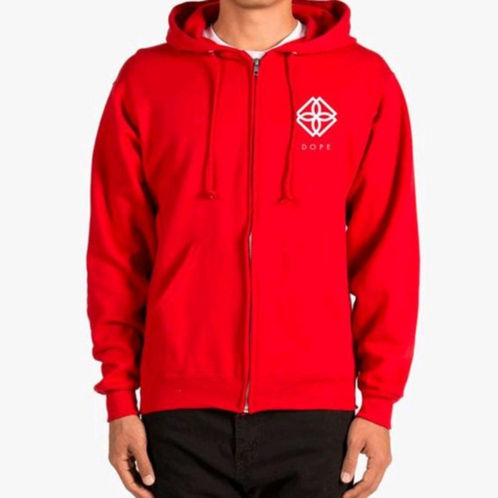 [도프]DOPE Monogram Zip-Up Hoodie (RED) - 풋셀스토어
