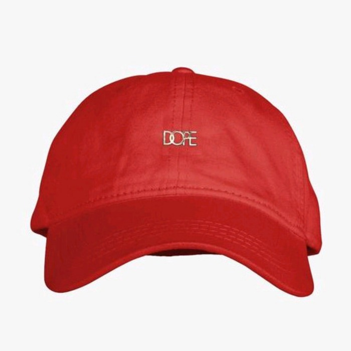 [도프]DOPE Leather Micro Logo Cap (Red) - 풋셀스토어