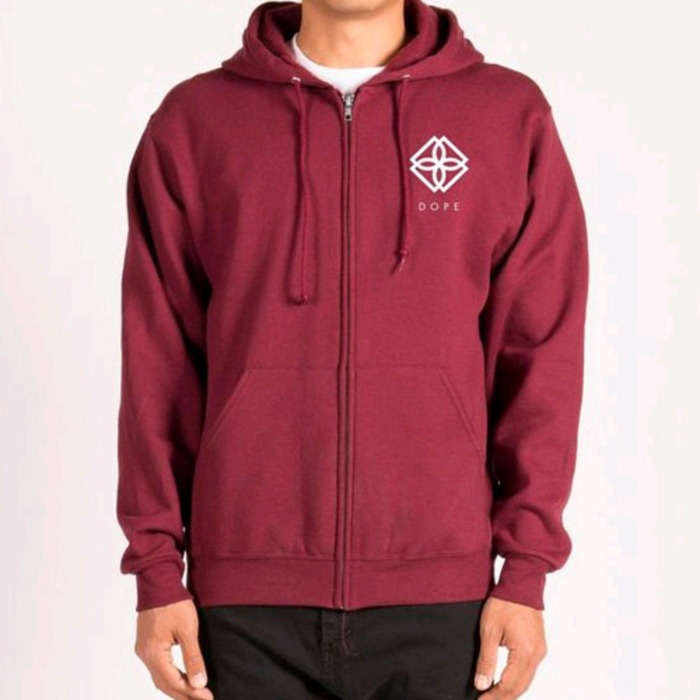 [도프]DOPE Monogram Zip-Up Hoodie (Burgundy) - 풋셀스토어