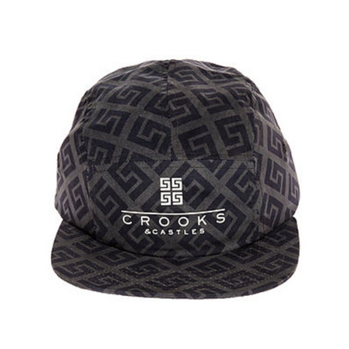 [크룩스앤캐슬]CROOKS & CASTLES Mens Woven 5-Panel Cap - Thuxury Repeat - 풋셀스토어
