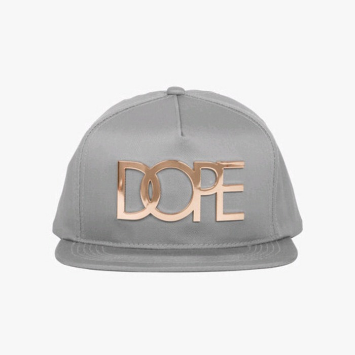 [도프]DOPE Gold Logo Snapback (Light Grey) - 풋셀스토어