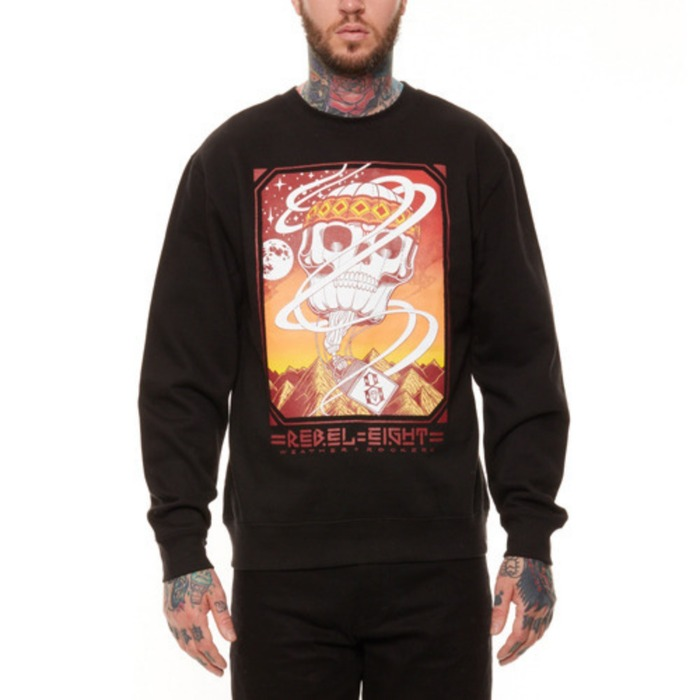 [레벨에잇]REBEL8 WEATHER ROCKERS CREWNECK (BLACK) - 풋셀스토어
