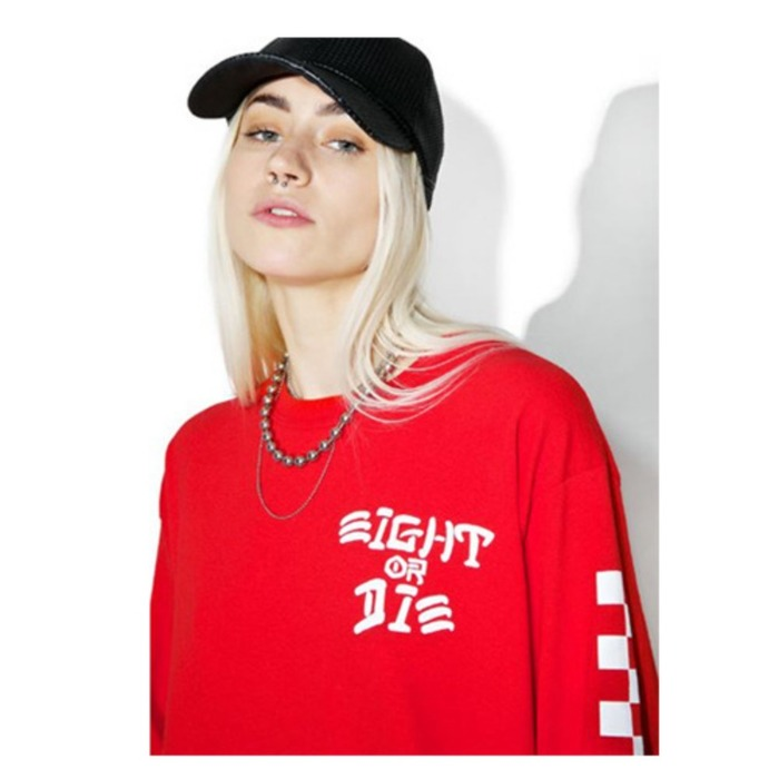 [레벨에잇]REBEL8 EIGHT OR DIE LONGSLEEVE TEE (RED) - 풋셀스토어