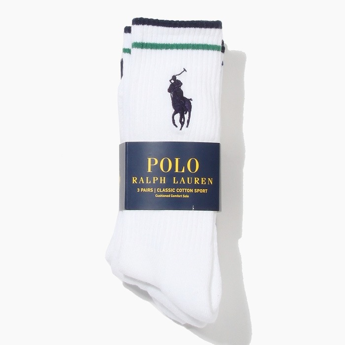 [폴로] POLO Big Pony Stripe 3pack Socks Asst, 양말 - 풋셀스토어