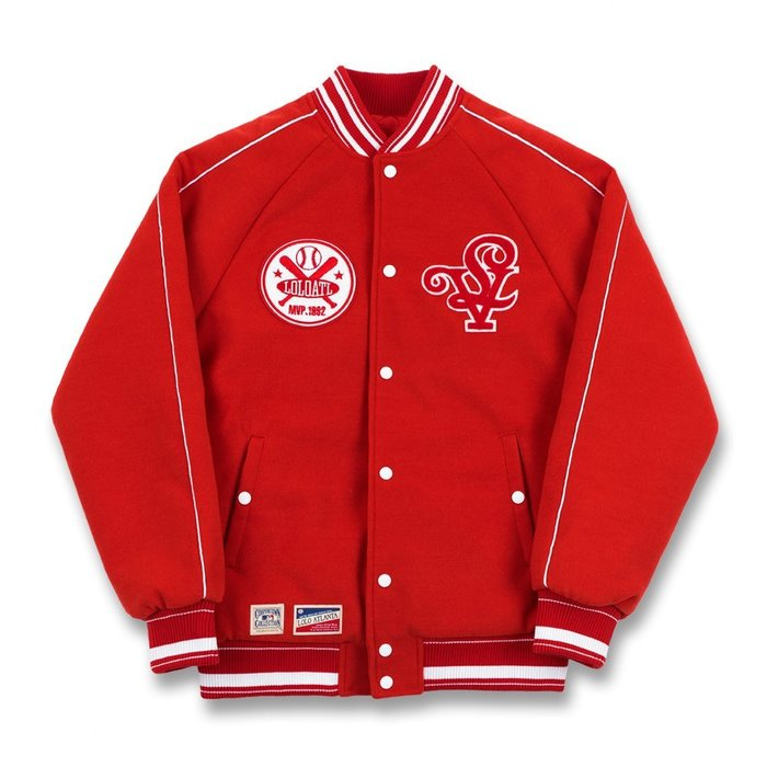 롤로, [LOLO] LOYALTY BASEBALL JACKET (Ferrari Red) - 풋셀스토어