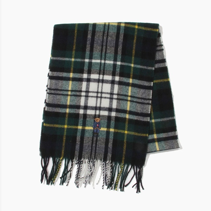 [폴로] POLO Bear Embroidered Plaids Scarf Cream Tartan, 스카프, 목도리 - 풋셀스토어