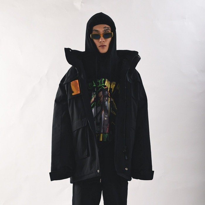 [쿠드그라스] COUPDEGRACE PVC SHELL PARKA (BLACK) - 풋셀스토어