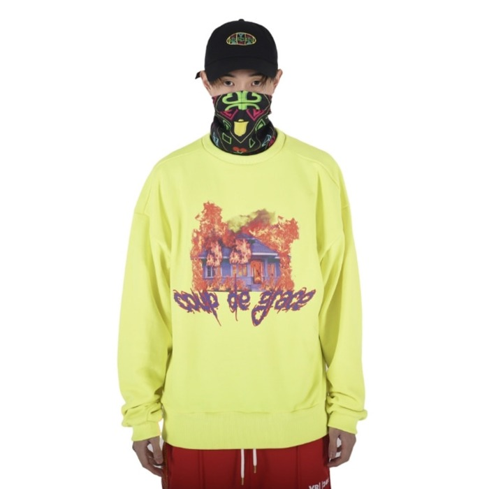 [쿠드그라스] COUP DE GRACE BURNING HOUSE CREWNECK (NEON GREEN) - 풋셀스토어